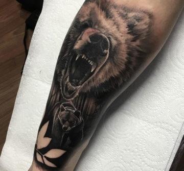 Медведь в лесу и морда ревущего медведя