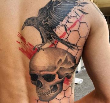 Ворон на черепе, мужская тату на спине